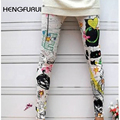 HENGFURUI Sexy Slim Leggings Women Printed Leggings 2017 New Fahsion Winter Color Iink Painting Graffiti Seamless Nine Pants