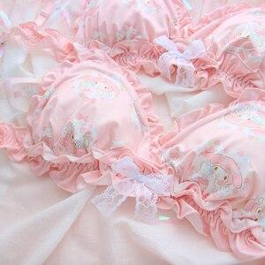 Image 3 - Conjunto de ropa interior con volantes y lazo de encaje, sujetador sin aros, Sexy, japonés, rosa, My Melody