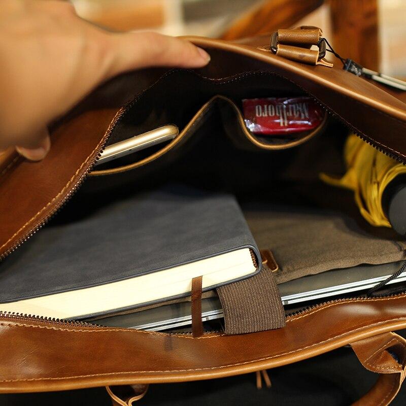 Image 4 - Brand Crazy Horse PU Leather Men Briefcase Vintage 13 inch Big  Business Laptop Handbag Fashion Brown Messenger Shoulder Bag  ManBriefcases
