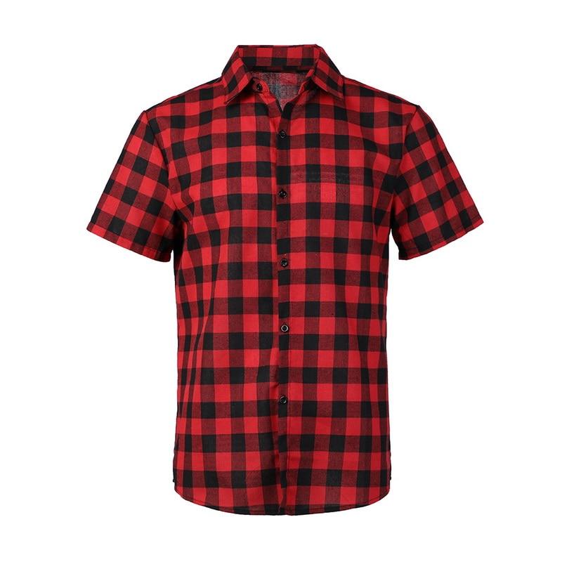 Oeak Mens Plaid Printing Short Sleeve Shirts 2019 New Summer Lapel Design Casual Slim  Cotton Breathable Comfortable Tops