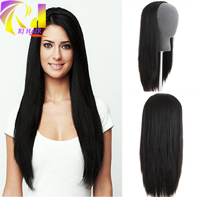 3 4 Half Wig Human Hair Silky Straight Virgin Peruvian None Lace Wigs Black  Brown c326daea21ed