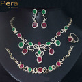 2017 Classic Gold Plated African And Nigerian Natural Red And Green Stone Paved 4 Pcs Jewelry Set For Women Wedding Gift  J131