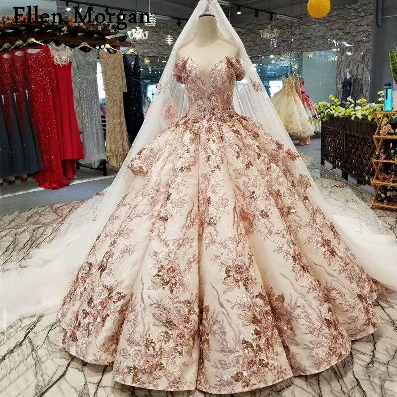 7cede452b51 Detail Feedback Questions about Elegant Lace Wedding Dresses with Long Veil  2019 Sweetheart Off Shoulder 3D flowers Corset Saudi Arabian Princess Bridal  ...