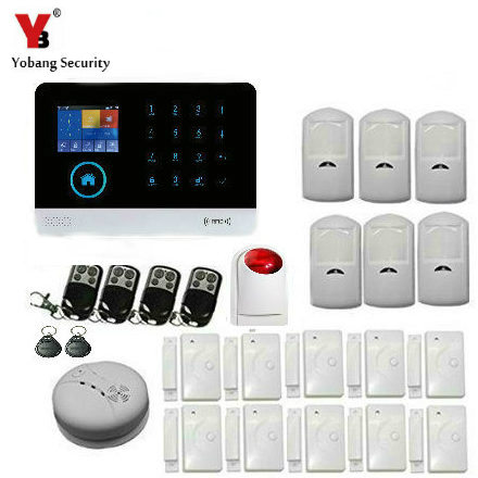 YobangSecurity ANDROID IOS APP Touch Keypad Wireless WIFI GSM SMS Smart Home Security Burglar Alarm System With Wireless Siren yobangsecurity gsm wifi burglar alarm system security home android ios app control wired siren pir door alarm sensor