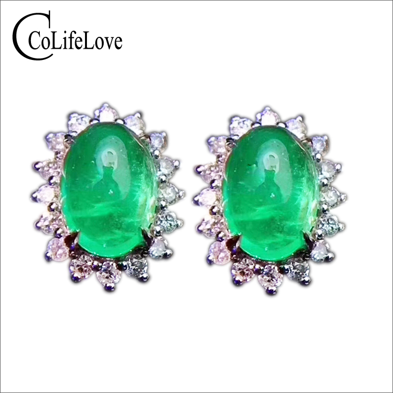 цена на Classic silver emerald stud earrings 4 mm * 6 mm natural Colombia emerald earrings real 925 silver emerald earrings for weddings