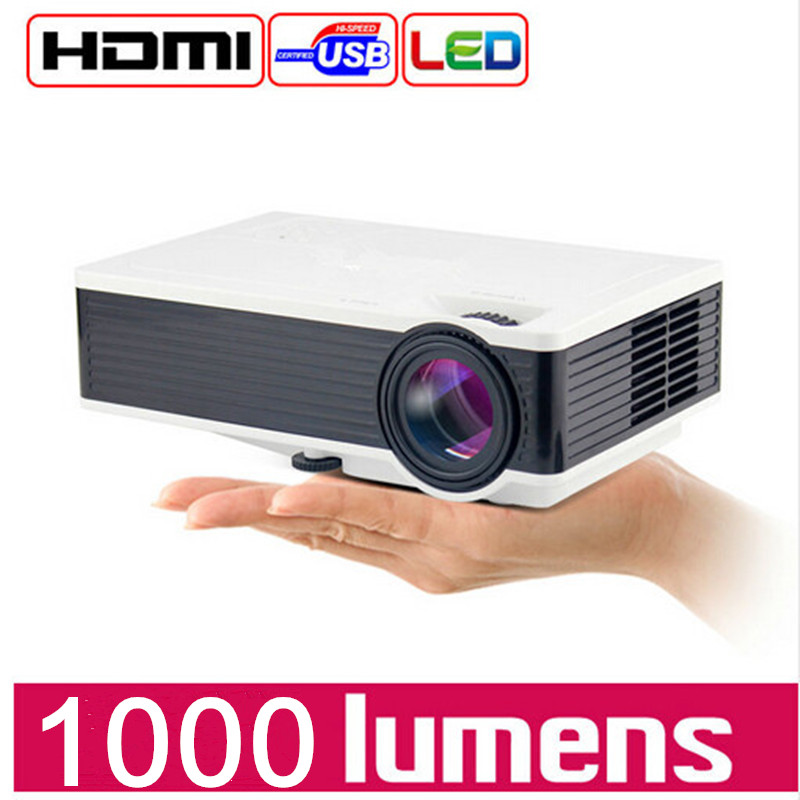 Full HD 1080P mini Projector LCD LED Projector 1000 lumens Household Mini Portable Projector Input USB TF HDMI AV gigxon g700a android portable mini projector support full hd level 1920x1080pixels 1200 lumens led projector