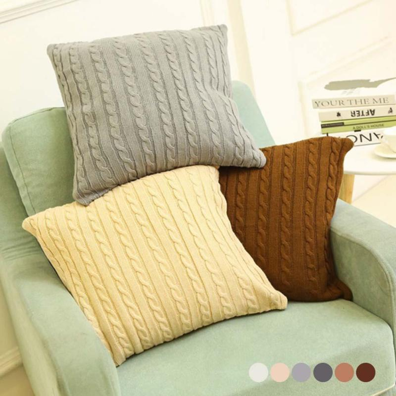 Cushion Cover Retro Style Knitted Fibre Pillow Case Solid Sofa Waits