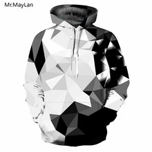 2018 New Argyle Blocks Hoodies Men Women 3D Hooded Sweatshirts Print White Black Diamonds Style Mens Tops sudadera hombre
