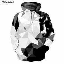 2018 New Argyle Blocks Hoodies Men Women 3D Hooded Sweatshirts Print White Black Diamonds Style Mens Tops sudadera hombre