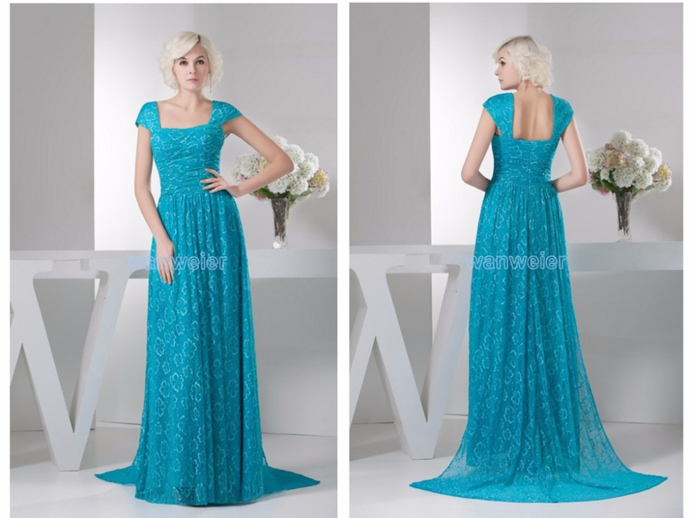 free shipping elie saab dresses 2014 new formal design hot sale maternity brides maid cap sleeve blue lace evening Dress