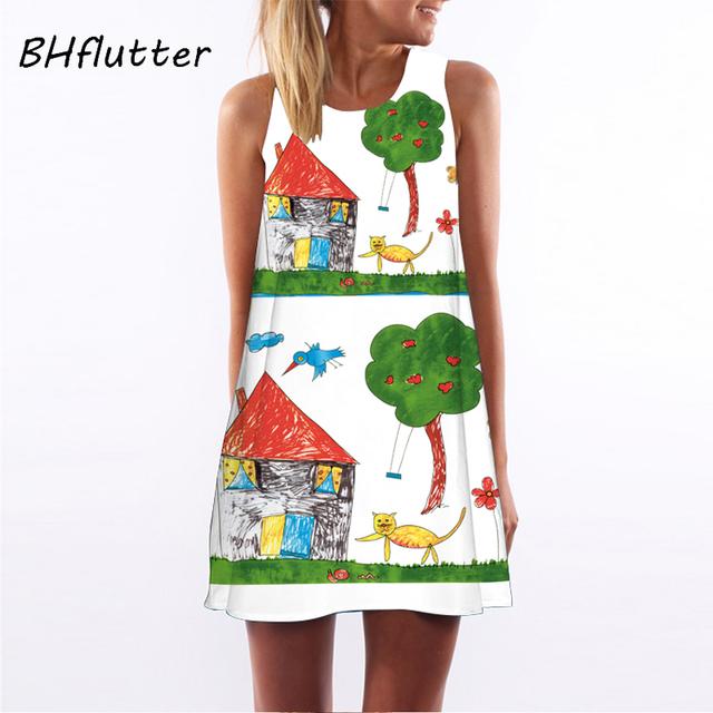 BHflutter Summer Dress Women New 2018 Fashion Red Lips Print Cute Party Dress Sleeveless O neck Casual Chiffon Dresses Vestidos