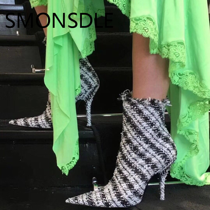 SMONSDLE New Fashion Pointed Toe Thin High Heels Women Ankle Boots Side Zip Gingham Spring Autumn Women Short Boots Shoes Woman smonsdle 2018 new woman ankle boots shoes side zip thin high heels pointed toe kid suede boots designer woman autumn winter boot