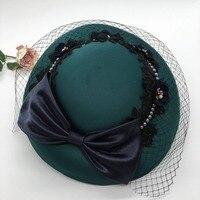 2018 New Big Green Wedding Hat For Bride Veil Pearl Fascinator Hat Vintage European Party Cocktail Derby Ladies Lace Headpieces