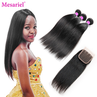 Mesariel Brazilian Straight Hair Bundles With Closure 3 Bundles With Closure Free Three Middle Part 100