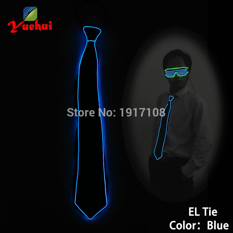 High quality 10 Color Available Luminous Sound active EL Necktie LED tie Light up By Battery Mens Wedding Gift Party Supplies