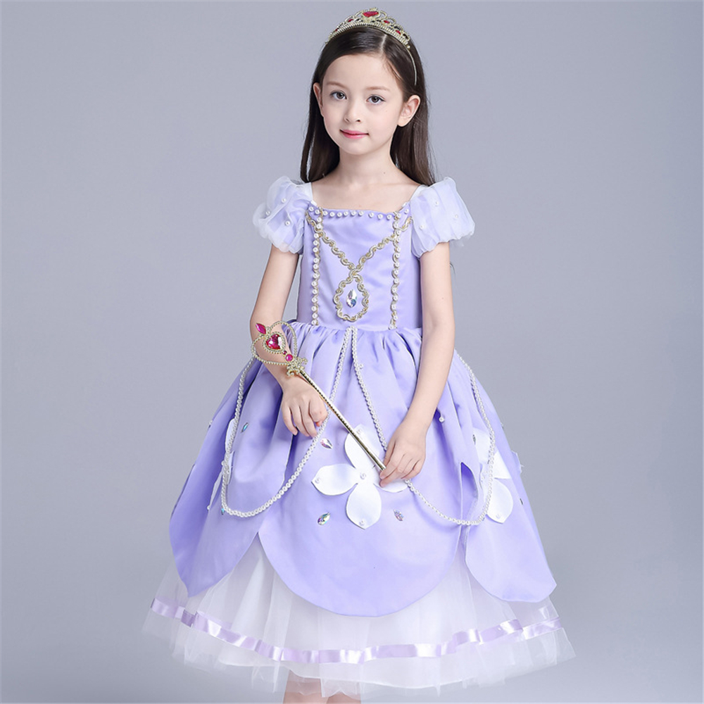 Girls Sofia Princess Dress Girls Dresses Children Cosplay Clothing Baby Girls Lolita Dress Girl Cartoon Kids Beauty Clothes цена