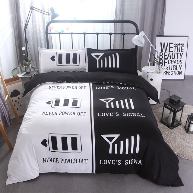 Lover Bedding 3pcs Set Us Size Duvet Cover Set Black And White