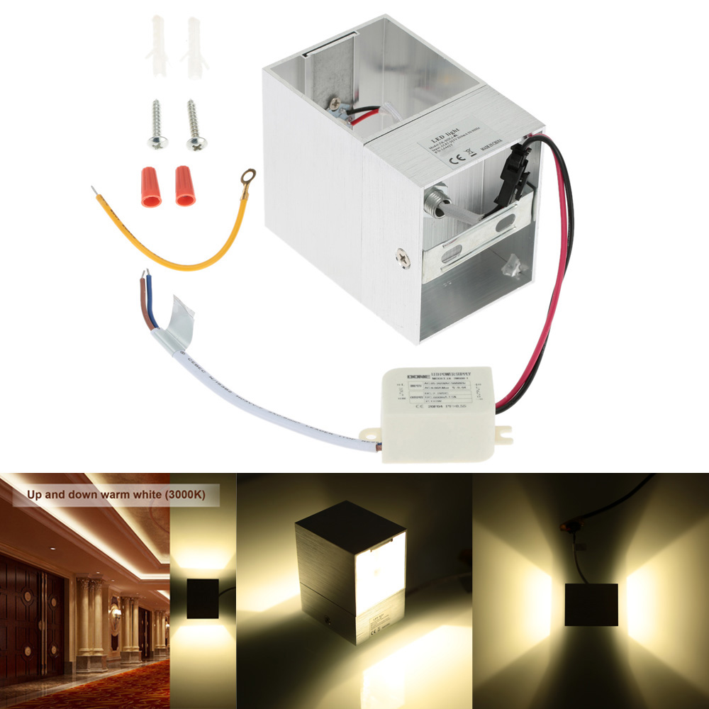 Solid Wall Lamp Led 3w Indoor Wall Light Aluminum Up Down: 3W AC110 240V Up And Down Mini Square Light Wall Mounted