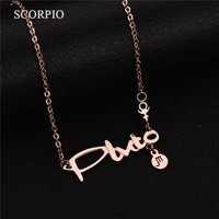 High Quality Charm SCORPIO Constellation Necklace 316L Stainless Steel Pendant Necklaces For Birthday Gift