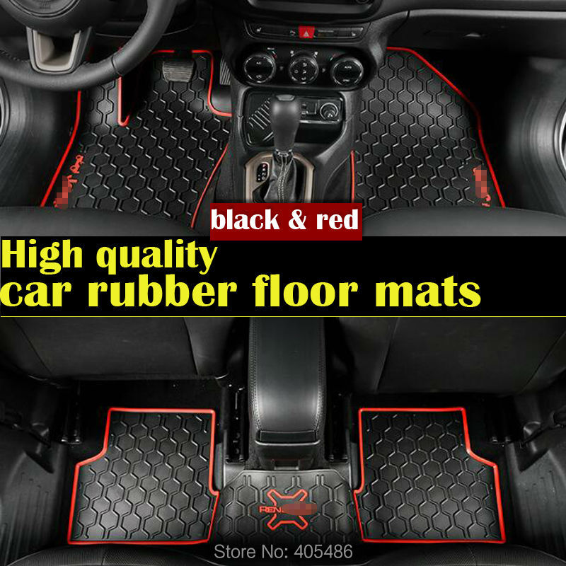 DHL Black red 3D Custom floor mats fit car rubber Material Floor Liner Kit Mat for