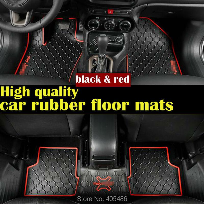 Dhlの黒赤3dカスタムフロアマットフィット車ゴム素材床ライナーキットマット用ジープrenegade車のスタイリングライナーカーペット  グループ上の 自動車 &バイク からの フロアマット の中 1