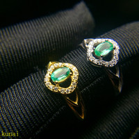 KJJEAXCMY fine jewelry 925 Silver inlaid with natural emerald ring jewelry.