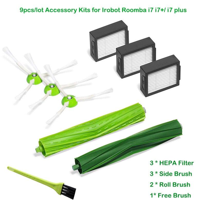 3 * Hepa фильтр + 3 * боковая щетка + 2 * круглая щетка для iRobot Roomba i7 E5 E6 я серии робот пылесос запасные Запчасти