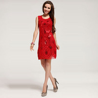 Wholesale Festive Red Sequins Dress Party Evening Elegant Christmas And Happy New Year Evening Dresses LM6022ES