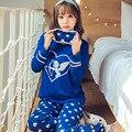 Pijamas for woman new 2016 autumn winter pajamas long sleeve ladies' pajama plus size pijamas mujer cute cotton pyjama femme