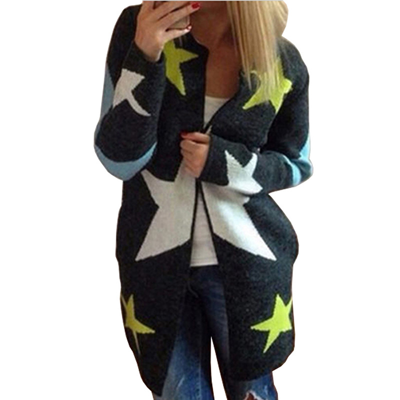 Autumn Cardigans Stars Pattern Print Casual Fashion Women Long Sweaters  Loose Warm Knitted Cardigans Long Sleeve Warm Outwears - Patterned Cardigans For Women Promotion-Shop For Promotional