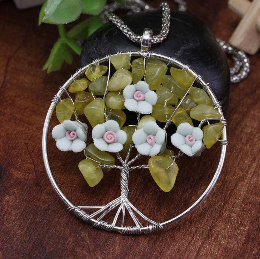 Handmade Women Jewelry Natural Stone Beads Clay Flower Pendant Necklace Wire Wrapped Leather Necklace Sweater Chain