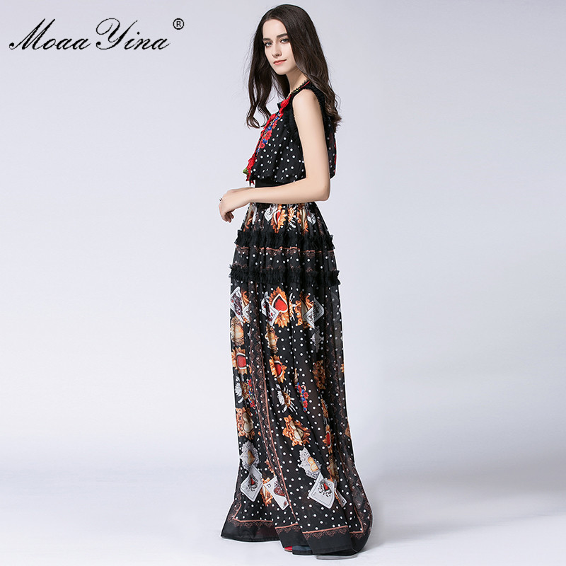 b54025c97c4ac US $55.19 20% OFF|MoaaYina Designer Runway Maxi Dress Summer Women  Sleeveless Dots Lace Print Applique Retro Casual Long Dress High quality-in  Dresses ...