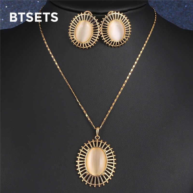 Ensembles de bijoux de mariage indien pour mariées Vintage opale perles africaines ensemble de bijoux couleur or femmes collier boucles d'oreilles ensemble