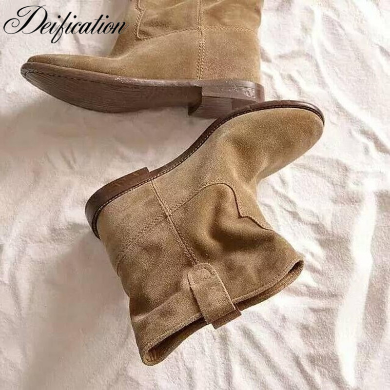 Deification Luxury Crisi Suede Concealed Wedge Retro Distressed Biker Boots Solid Ankle Boots Shoes Women Motorcycle Boots Shoes zipper fly pleat distressed biker pants