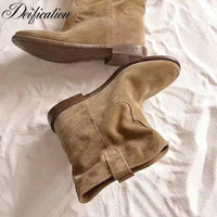 Deification Luxury Crisi Suede Concealed Wedge Retro Distressed Biker Boots Solid Ankle Boots Shoes Women Motorcycle Boots Shoes
