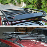 Black Top Roof Rack Rail Cross Bars Luggage Carrier Cargo Storage Frame Box Universal For Jeep