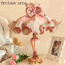 European Garden cloth lace table lamp Princess room  girls bedroom bedside lamp Korean pink carved resin decorative table lamp