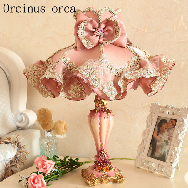 European garden cloth lace table lamp princess room girls bedroom european garden cloth lace table lamp princess room girls bedroom bedside lamp korean pink carved resin mozeypictures Gallery