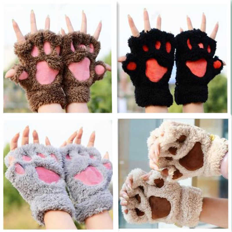 Anime Color Plays Plush Halloween Party Female Cute Panda Kitten Paw Claws Half Gloves Soft Role Accessories Multiple Colors