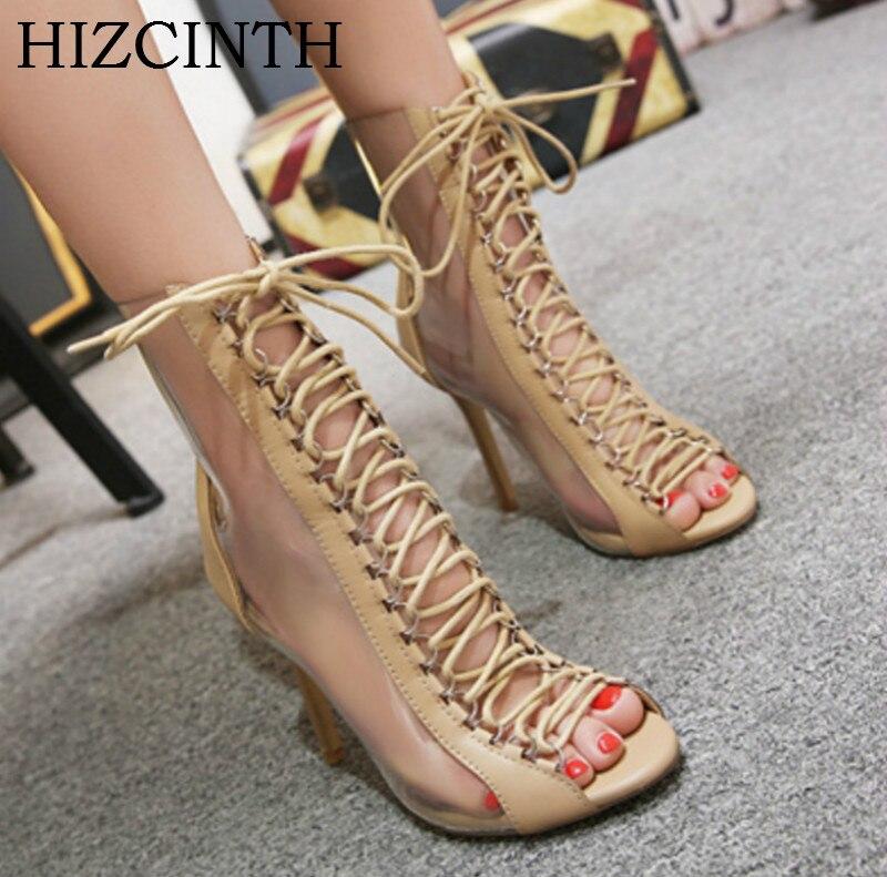 HIZCINTH 2018 Summer High-heeled Sandals Women Transparent Cool Sandalias Boots Gladiator Sandals Sexy Thin Heels Pumps Shoes