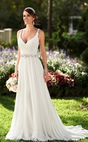 New Arrival Crystals Beading Chiffon Bridal Gown Casual Wedding Dress Keyhole Back For Summer MG420