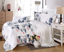 detingy luxury printing silk bedding sets 4pcs home