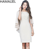 HAMALIEL New Fashion Sheath Party Cape Dresses 2018 Autumn Women White Shawl Cloak Sleeve Ladies Bodycon Pencil Office OL Dress