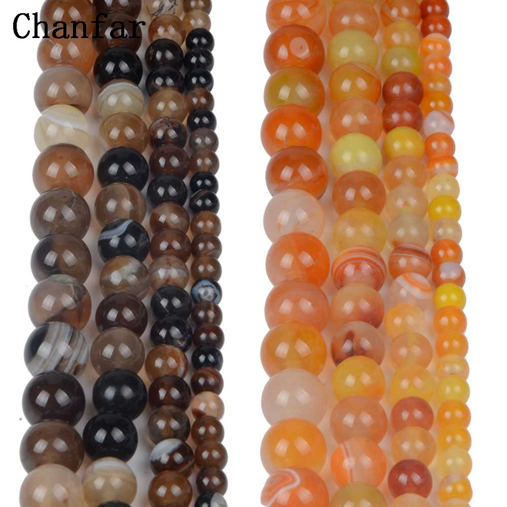 Brown Orange Banded Stone Beads Women Jewelry Fashion Making Beads 4 6 8 10 12mm ...