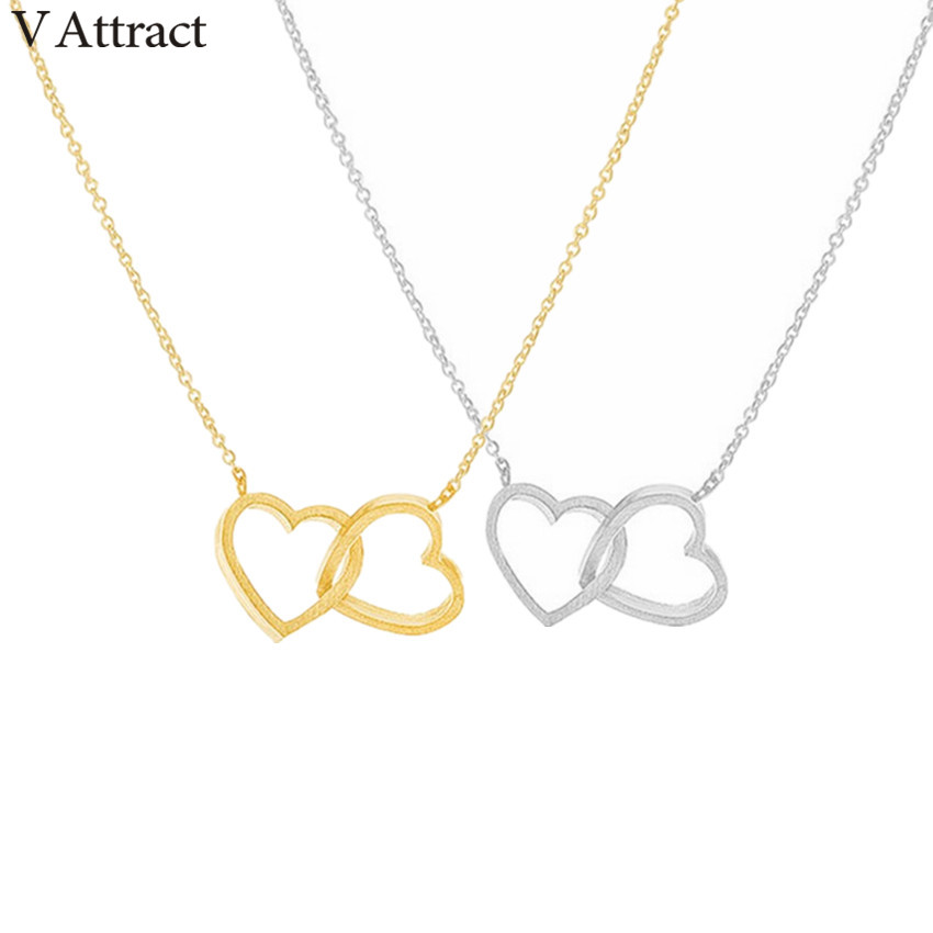 v attract 10 pcs handmade double heart necklace w valentine u0026 39 s day jewellery stainless steel