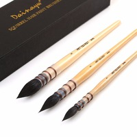 Dainayw 3Pcs 20RQ Squirrel Hair Paint Brush Set Short Wooden Handle Watercolor Paint Brushes For Artist