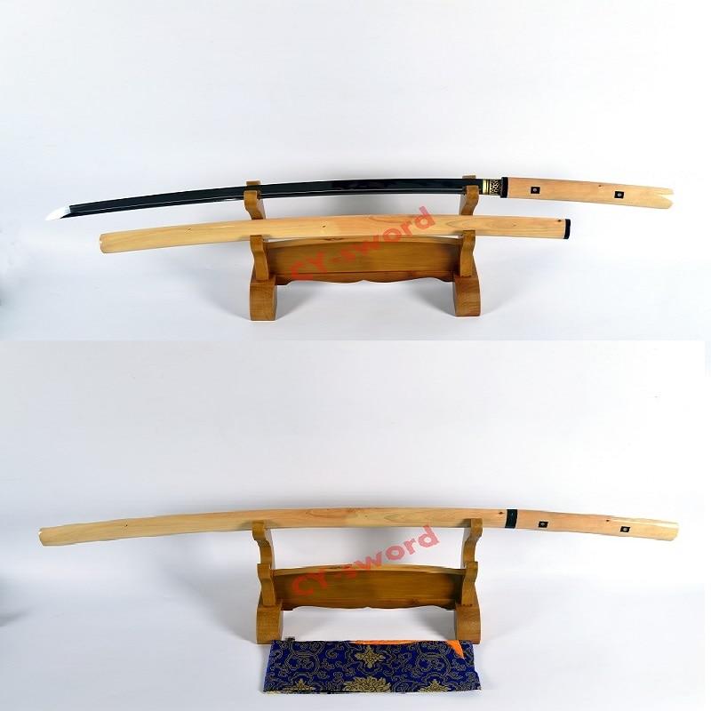 수제 고품질 점토 강화 일본어 시라 사야 카타나 면도기 날카로운 칼