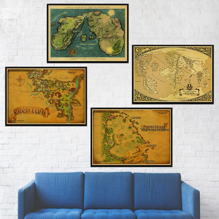 Middle Earth Map on Lord of The Rings World Map Vintage Kraft