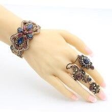 Vintage Turkish Women Hollow Flower Bangle Ring Retro Jewelry Sets Symmetrical Butterfly Bracelet Cuff Vines Double Finger Ring