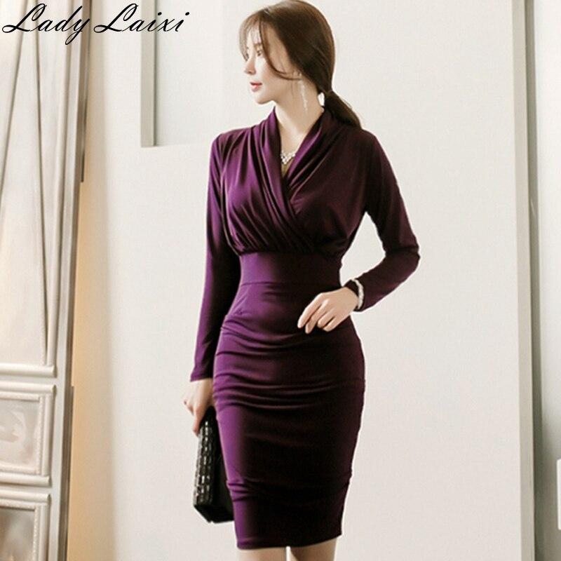 Новинка весны 2019, корейские облегающие платья карандаш высокого качества, офисные платья с перекрещивающимися рюшами, вечерние платья